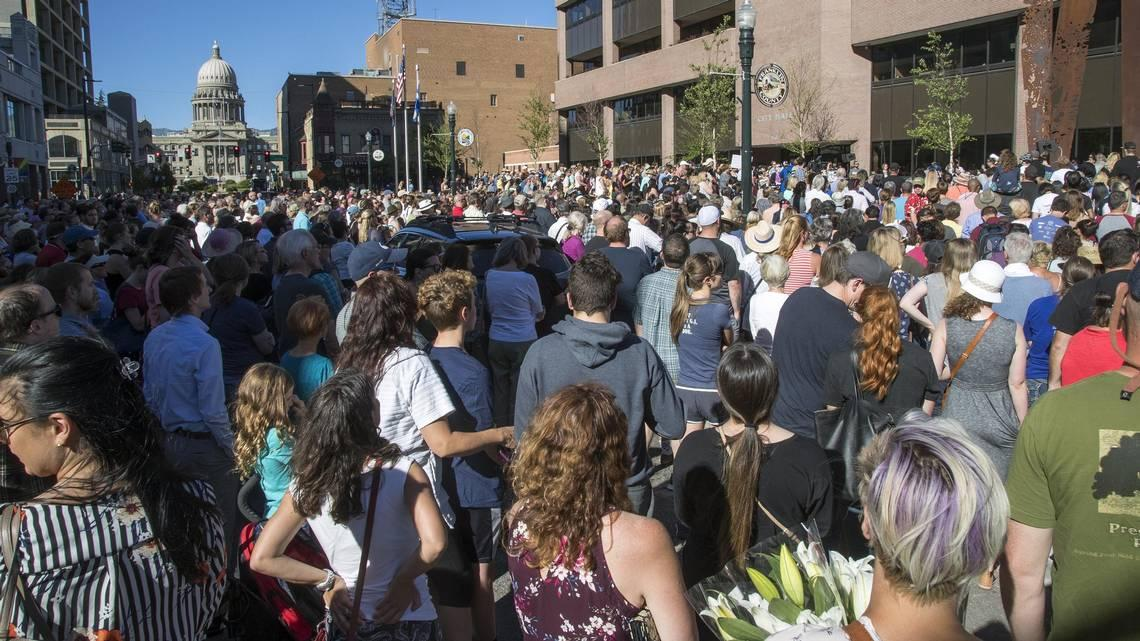 residents of boise idaho gather together at city hall to stand in solidarity with the victims